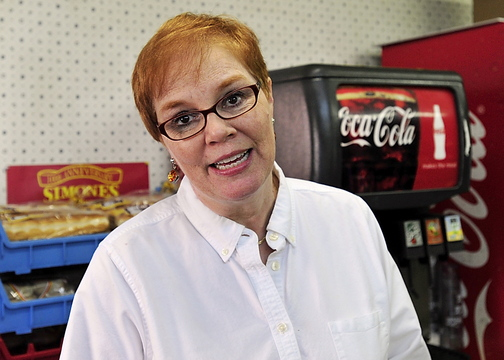 "Linda Simones, a co-owner of Simones' Hot Dog Stand in Lewiston and a Republican, said of Rep. Mike Michaud, ""He's a regular guy. We love him for who he is and always have."""