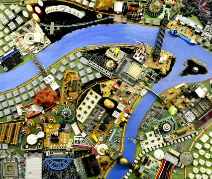 """A close-up of some of the intricate detail of """"City of Dreams"""" by Wally Warren."""