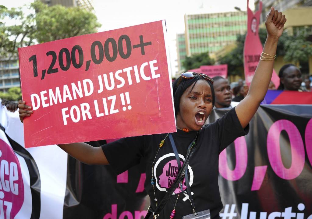 Women protest the gang-rape of a teenager and the release of the suspected attackers in the Kenyan capital of Nairobi.