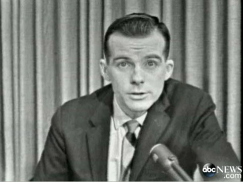 """A screen shot shows Bill Lord reporting from Dallas on the day President John F. Kennedy was assassinated. """"It was such a depressing experience for all of us,"""" Lord said."""