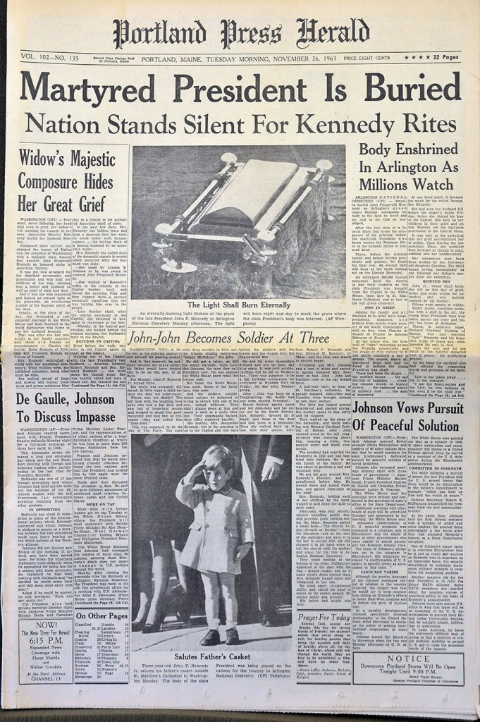 Gordon Chibroski/Staff Photographer A photo of the front page of the Portland Press Herald's Nov. 26, 1963 edition.