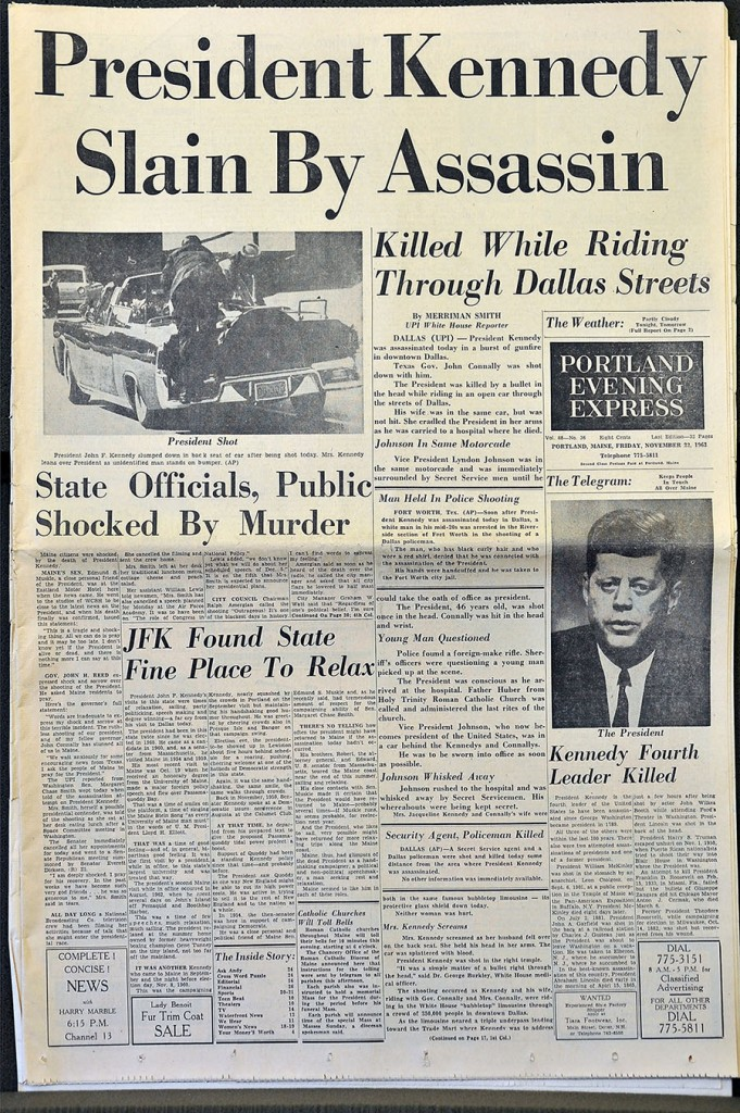 Gordon Chibroski/Staff Photographer . Wednesday, November 13, 2013. Copy shots of Press Herald and Evening Express pages concerning the shooting of President John F. Kennedy.
