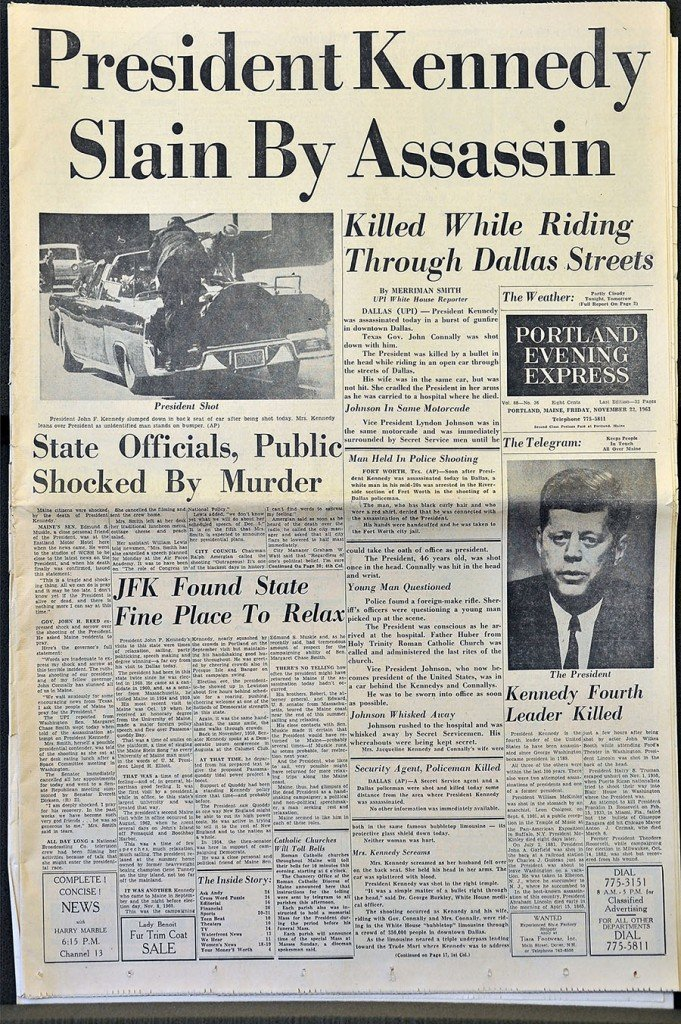 Gordon Chibroski/Staff Photographer . The front page of the Nov. 22, 1968 Portland Evening Express.
