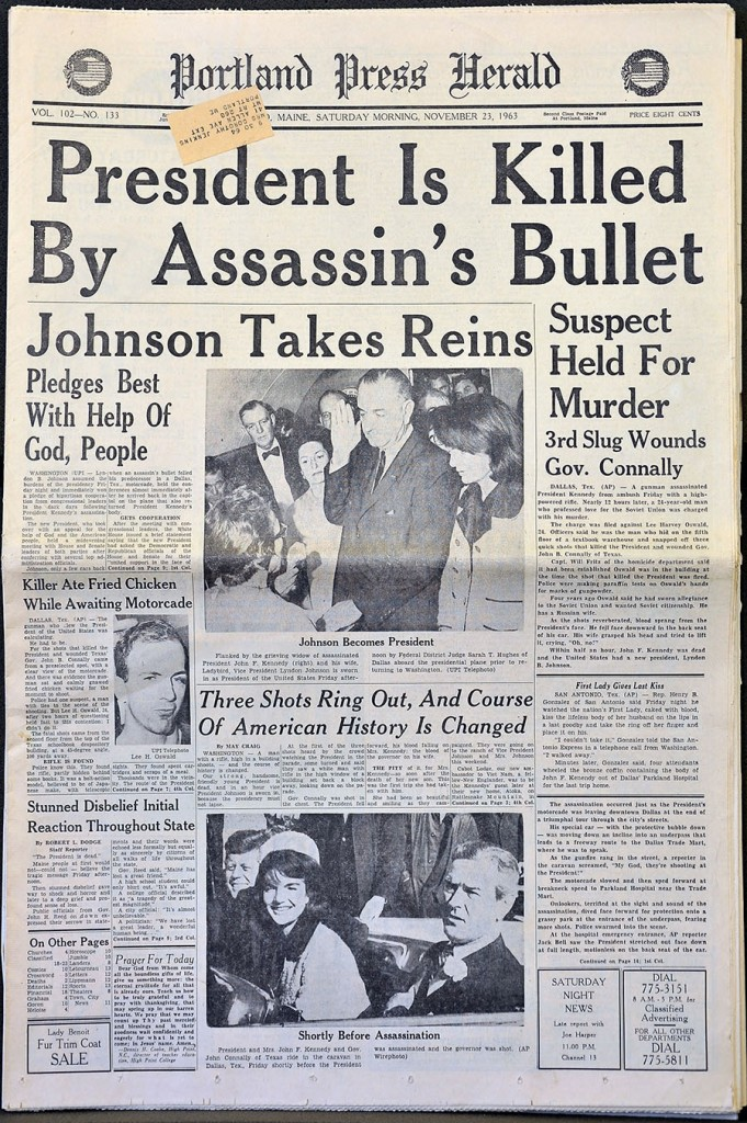 Gordon Chibroski/Staff Photographer . Wednesday, November 13, 2013. Copy shot of the Press Herald front page from the Saturday, Nov. 23, 1963 edition.