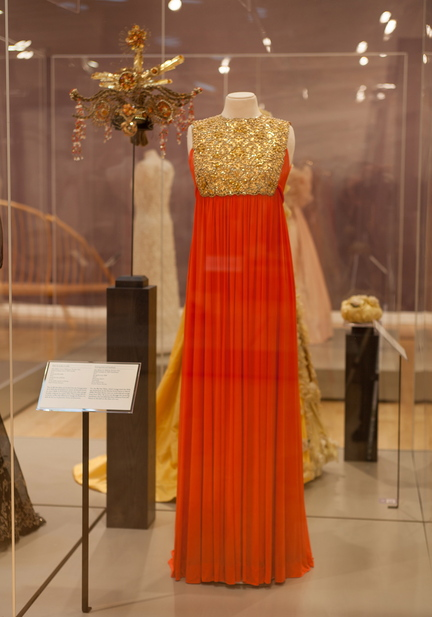 A dress that Princess Grace wore to a 1969 ball is part of the Grace Kelly exhibit at the James A. Michener Art Museum in Doylestown, Pa.