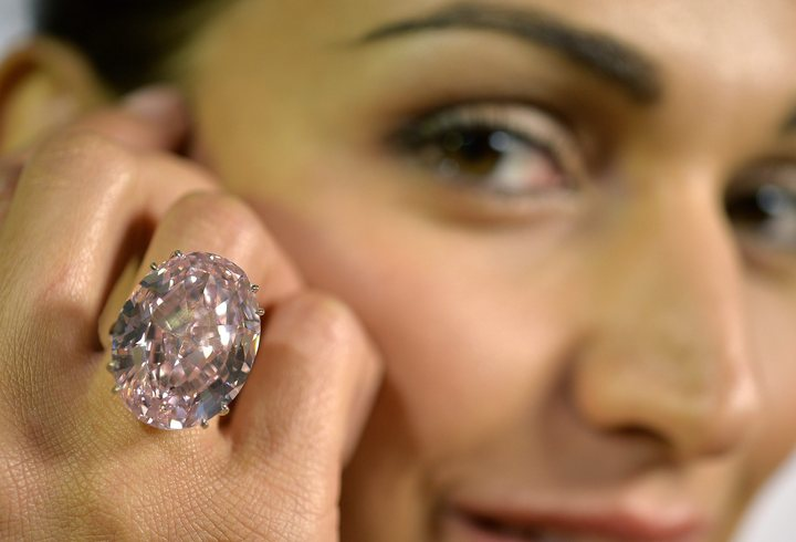 """""""The Pink Star"""" weighs 59.60 carats and took two years to cut to form."""