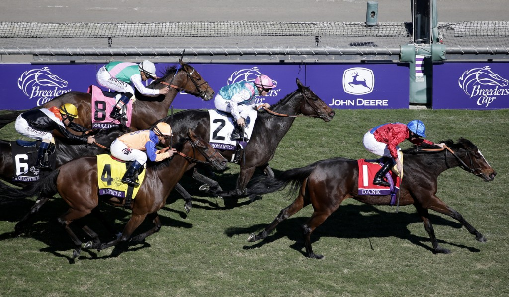 Dank, right, with jockey Ryan Moore aboard crosses the finish line and wins the Breeders' Cup Filly & Mare Turf horse race at Santa Anita Park Saturday, Nov. 2, 2013, in Arcadia, Calif.