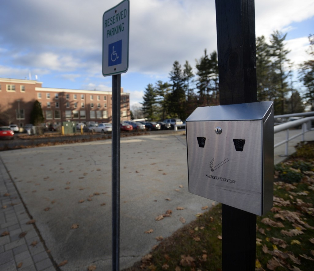 A smoking station at the University of New England in Portland Tuesday. The University of New England is the latest Maine college to go smoke-free.
