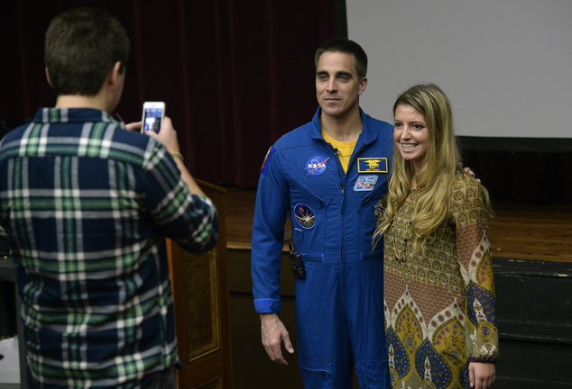 Astronaut Chris Cassidy poses for a photograph with York High School senior Annie Graziano during his visit to Maine on Monday. Taking the photograph is Matt Prouty, also York High senior.