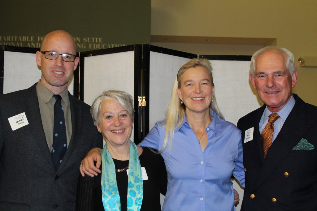 Darron Collins, president of College of the Atlantic, with Meredith Jones, president and CEO of Maine Community Foundation, Nell Newman, co-founder and president of Newman's Own Organics, and Hank Schmelzer, former president of Maine Community Foundation and board member of College of the Atlantic and Maine Public Broadcasting Network.