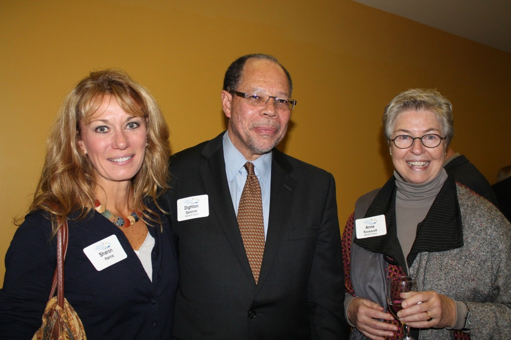 Sharon Hanna of Cumberland with Maine Community Foundation board members Dighton Spooner, senior associate director of career planning at Bowdoin College and Anna Roosevelt, CEO of Goodwill Industries of Northern New England.