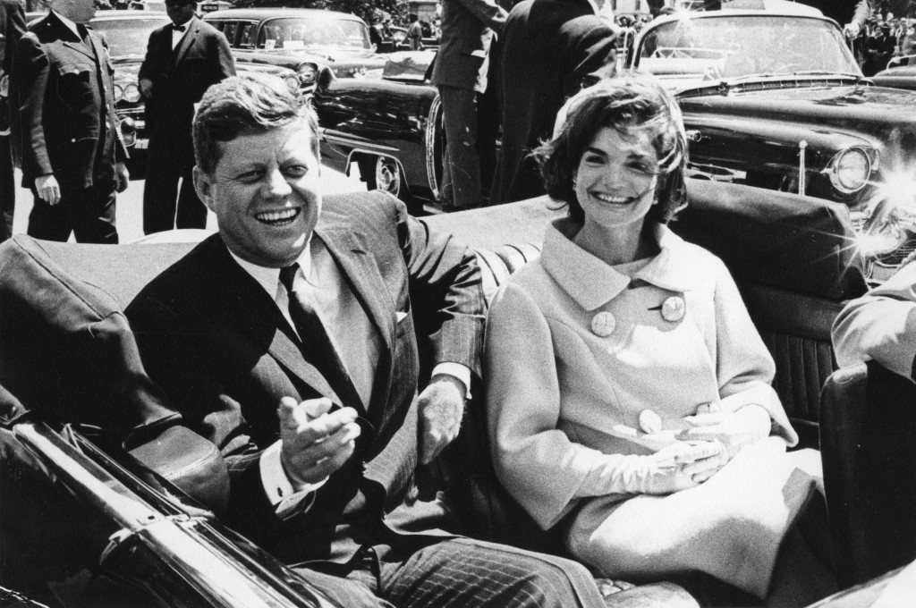 President John F. Kennedy and first lady Jackie Kennedy sit in a car in front of Blair House during the arrival ceremonies for Habib Bourguiba, president of Tunisia, in Washington, in this photo taken on May 3, 1961.