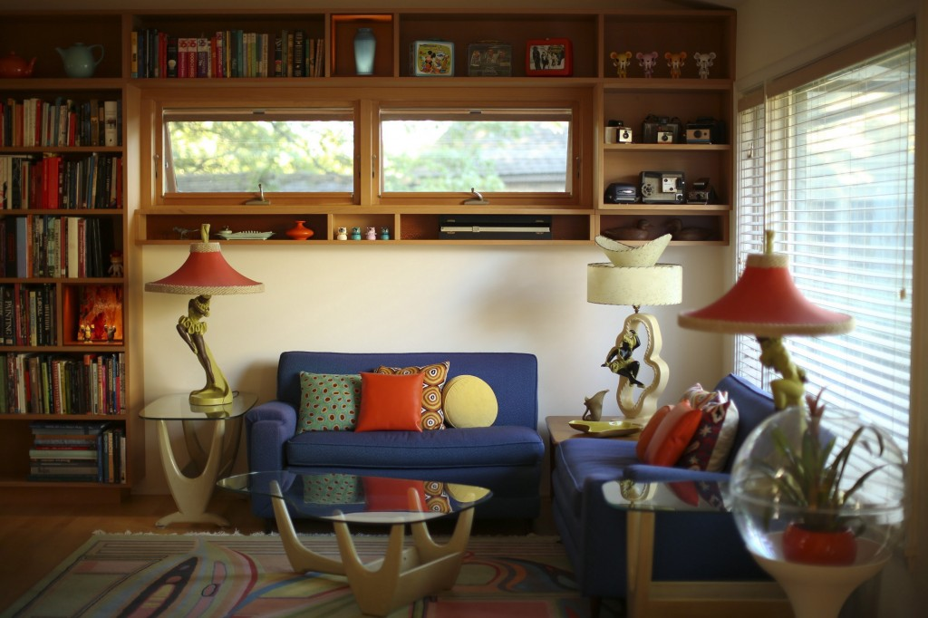 The living room in the Charbonneau-Berven ranch became even more open and airy – and full of welcome storage – post-renovation.