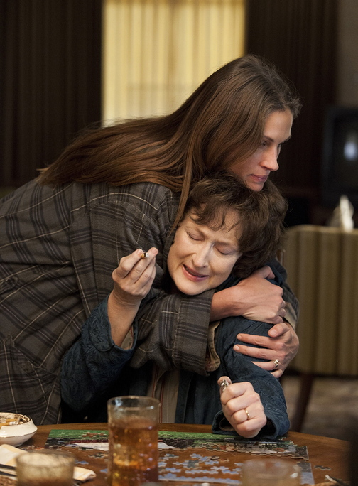 """Meryl Streep (seated) and Julia Roberts in """"August: Osage County."""""""