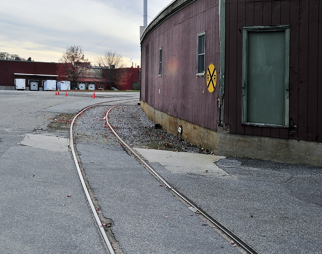Railroad tracks lead into the B&M plant in Portland. Some hope the line can be used for passenger service to Auburn.