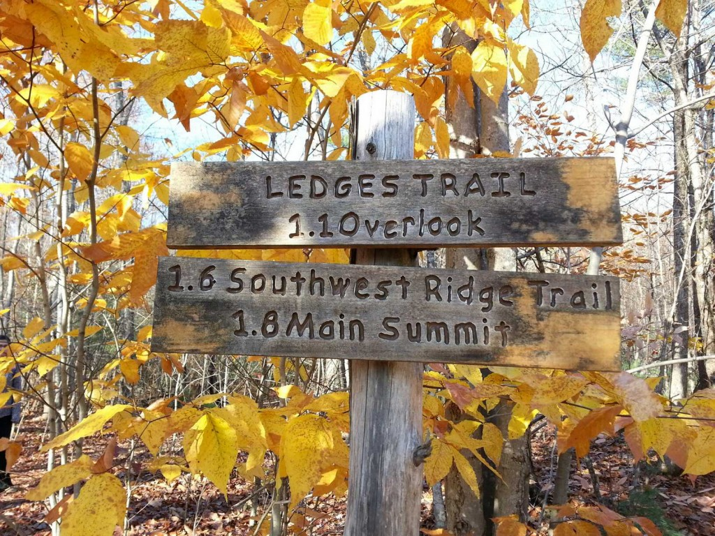 The signs at trail intersections, as well as the blue trail markers and blazes, make the Ledges Trail an easy trail to navigate.