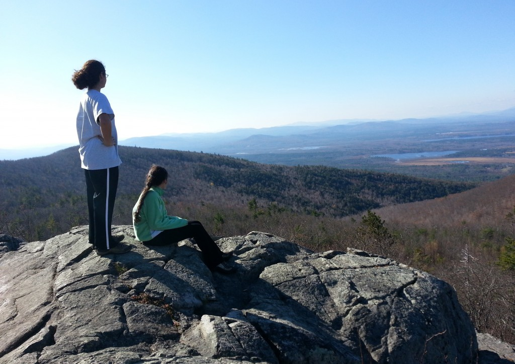 The summit of Pleasant Mountain offers great views of the White Mountains to the west. Picking out mountains previously climbed is a great way to teach geography to kids.