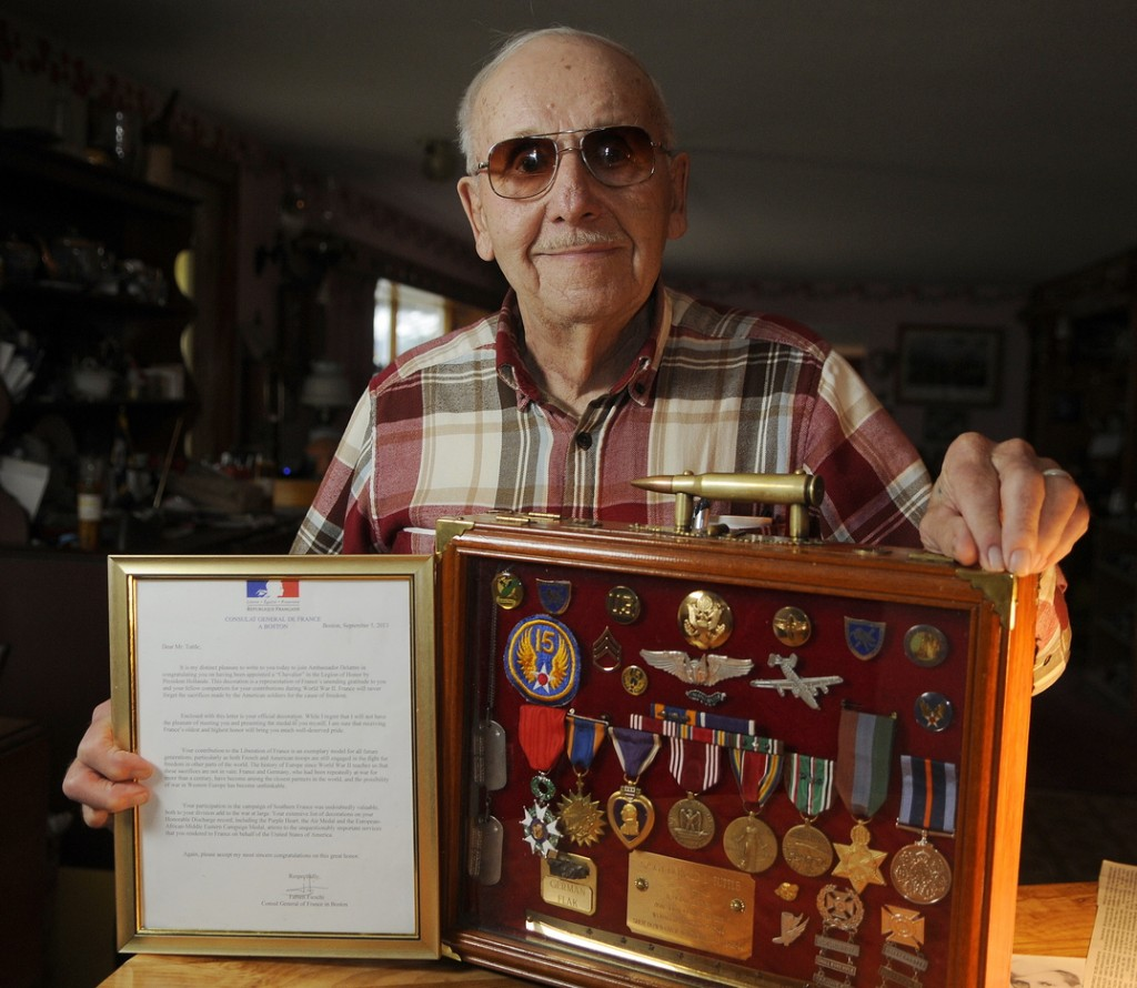 Don Tuttle of Augusta was recently appointed Chevalier, or knight, in the French Legion of Honor, for his service as a tailgunner on a B-24 bomber over France.