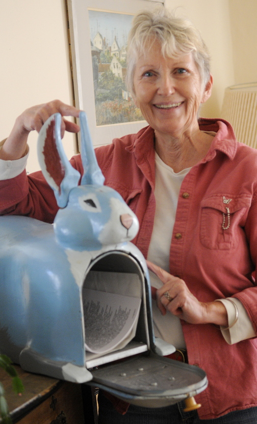 Sheila Stratton, widow of Abbott Vaughn Meader, says her late husband started collecting blue rabbits after an acid trip where he saw himself as a blue rabbit.