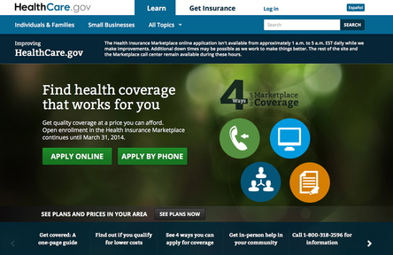 A screen image shows the current homepage of the HealthMaine.gov website. Todd Park, the White House chief technology officer, says the website can now handle about 17,000 account registrations an hour.
