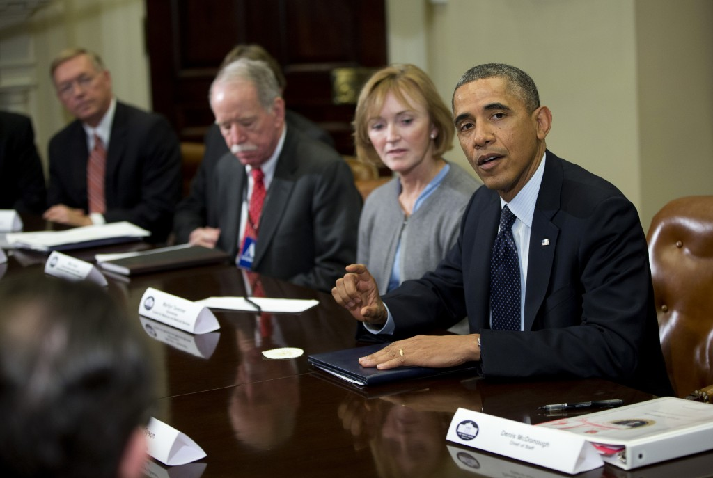 """President Obama makes a statement before the start of a """"brainstorming"""" meeting with representatives of health insurance companies Friday at the White House."""