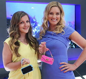 "Kelley Coughlan, right, a Berwick Academy graduate, will pitch her pursecase to ""Shark Tank"" investors in hopes of winning business backing."
