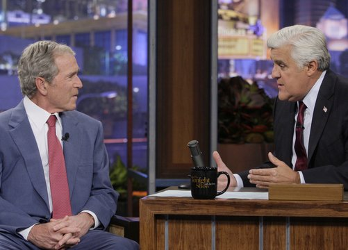 "Former president George W. Bush appears with Jay Leno on ""The Tonight Show."""