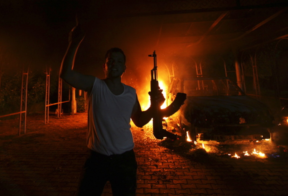 The U.S. Consulate in Benghazi is seen in flames during an attack by an armed group on Sept. 11, 2012.