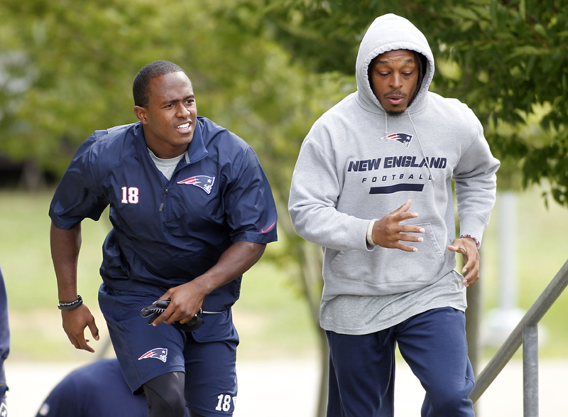 """New England Patriots wide receiver Matthew Slater, left, shown with cornerback Marquice Cole, said, """"I think we have a locker room with a lot of respect.''"""