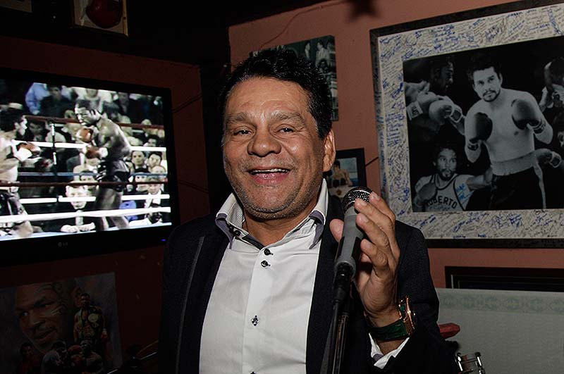 Roberto Duran, shown in this December 2012 photo, was at the Portland Expo boxing card Saturday night, signing autographs and posing for photos.
