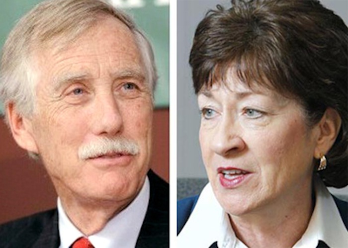 Independent U.S. Senator Angus King and Republican U.S. Senator Susan Collins, both of Maine.