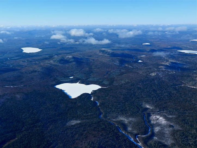 Bald Mountain, with Greenlaw Pond in the foreground, is the site of mineral deposits that Irving, which owns the property, would like to mine. The state Board of Environmental Protection has proposed new rules that would make it easier for mining companies to operate in Maine. <em>Photo courtesy of Courtesy of Natural Resources Council of Maine</em>