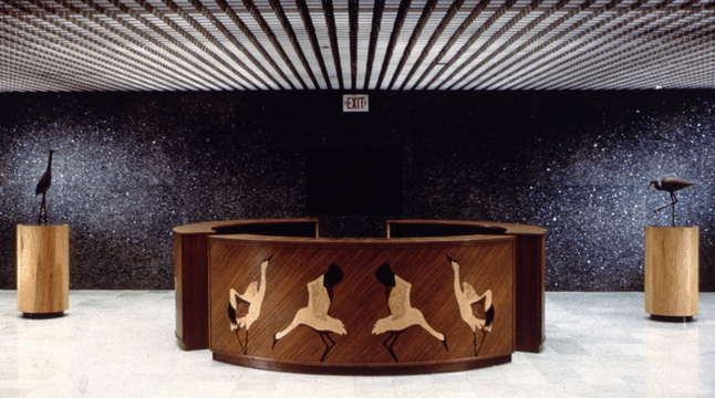This is a dancing swan desk crafted by Peter Korn, director of the Center for Furniture Craftsmanship in Rockport. (Photo courtesy Peter Korn)