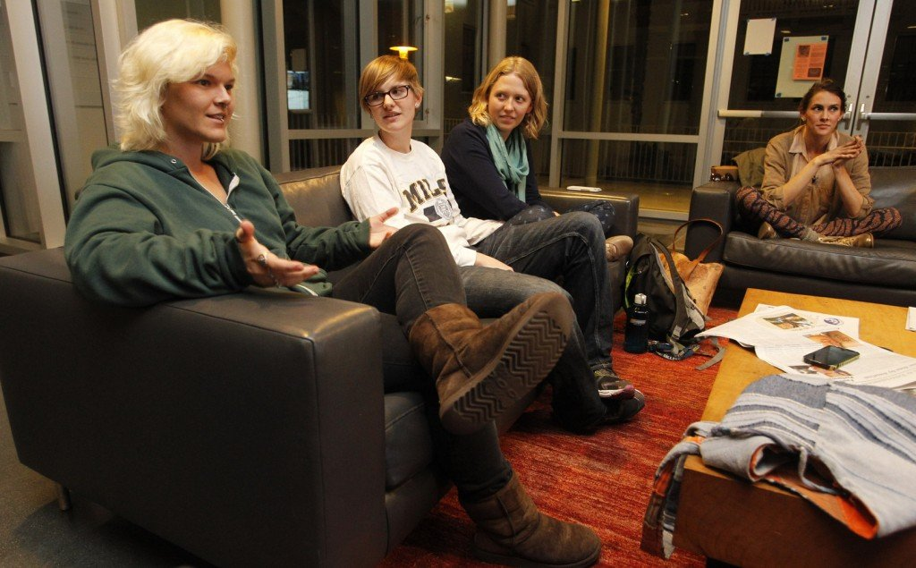 Joss Ferguson, left, discusses preferred gender pronouns with other members of Mouthing Off!, a group for students at Mills College in Oakland, Calif., who identify as gay, lesbian, bisexual or transgender.