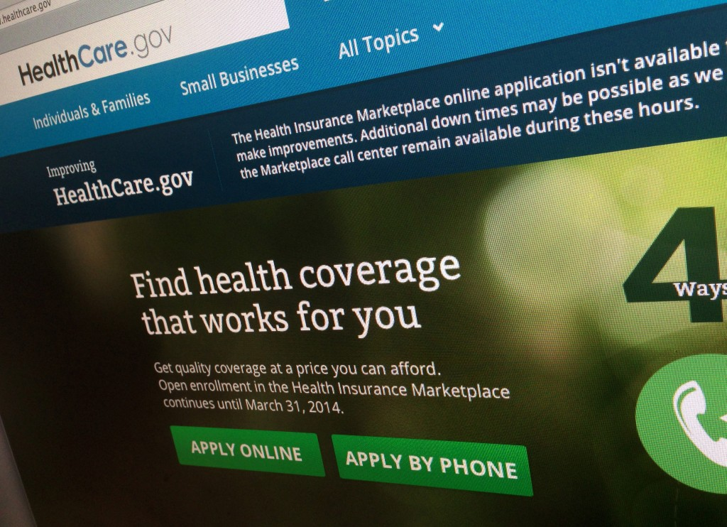 The HealthCare.gov website is photographed in Washington on Nov. 29. The beleaguered health insurance website has had periods of down times, as the government tries to fix its many bugs and glitches.
