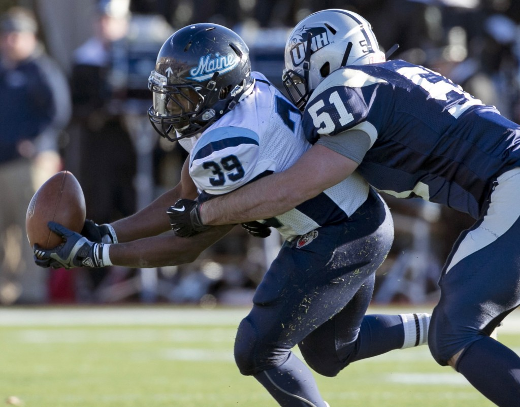Rickey Stevens of Maine, left, gained 86 yards against New Hampshire in the first game, and will be a key to the ground game as the Black Bears seek a more balanced offense.
