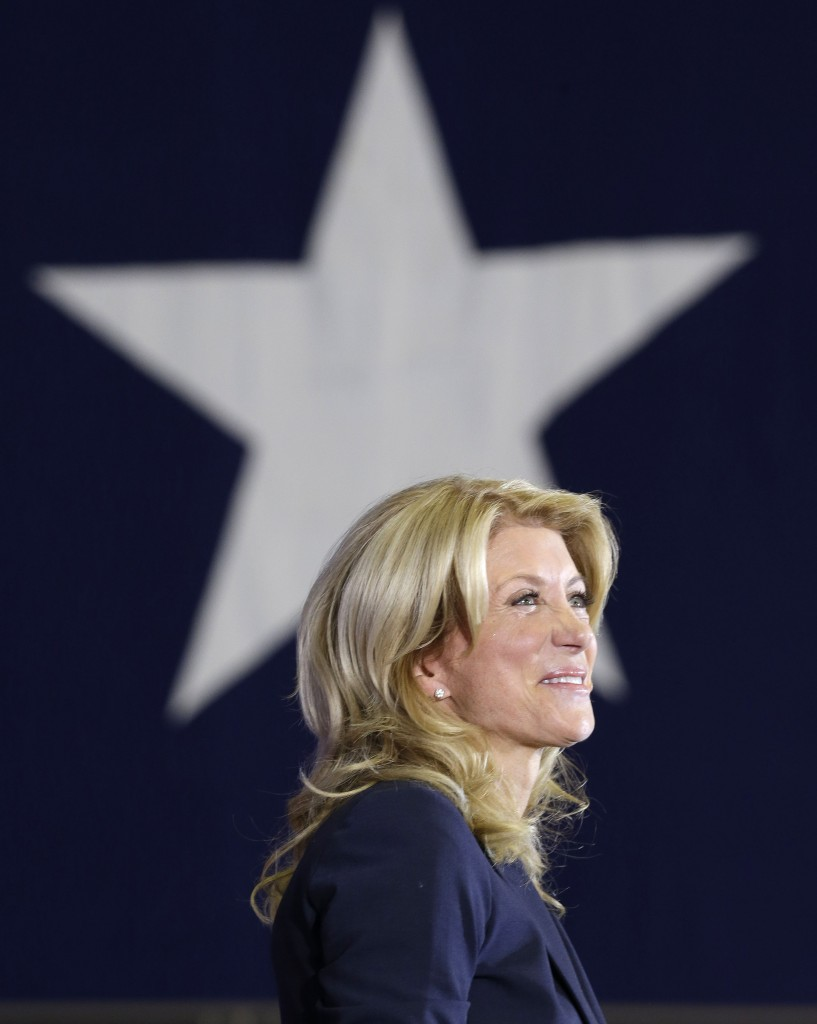 Sen. Wendy Davis, D-Fort Worth, addresses supporters at a rally in Haltom City, Texas, where the rising Democratic star declared her candidacy for governor in early October.