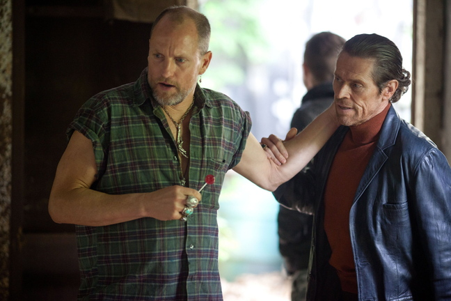 "Woody Harrelson, left, runs an underground fight ring and Willem Dafoe is a small-time bookie in ""Out of the Furnace."""
