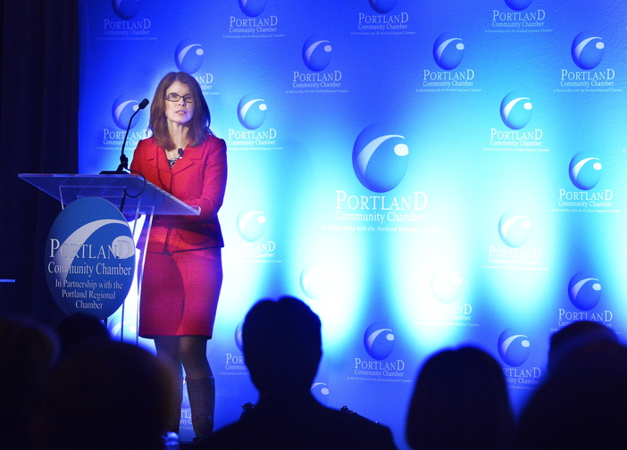 Mary Mayhew, Maine Department of Health and Human Services commissioner, touted the LePage administration's welfare reform agenda at the Portland Regional Chamber's Eggs & Issues breakfast Wednesday.