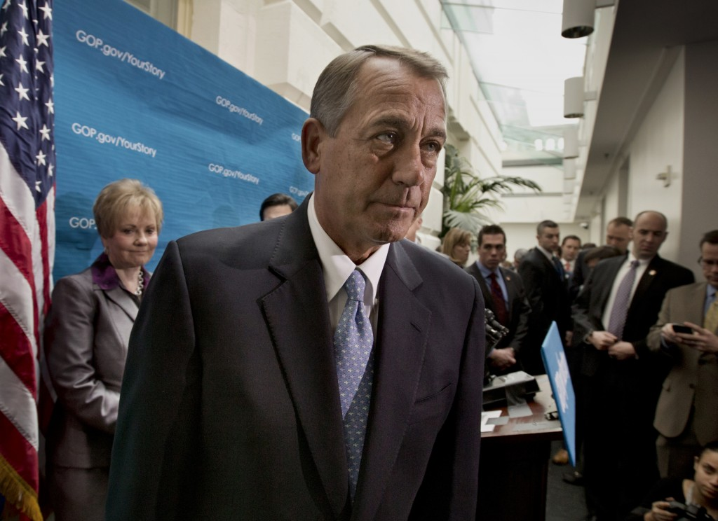 House Speaker John Boehner and Republican House leaders on Capitol Hill earlier this week after a news conference following a closed-door strategy session. Boehner said Thursday he was helping train Republicans in how to avoid offensive remarks.