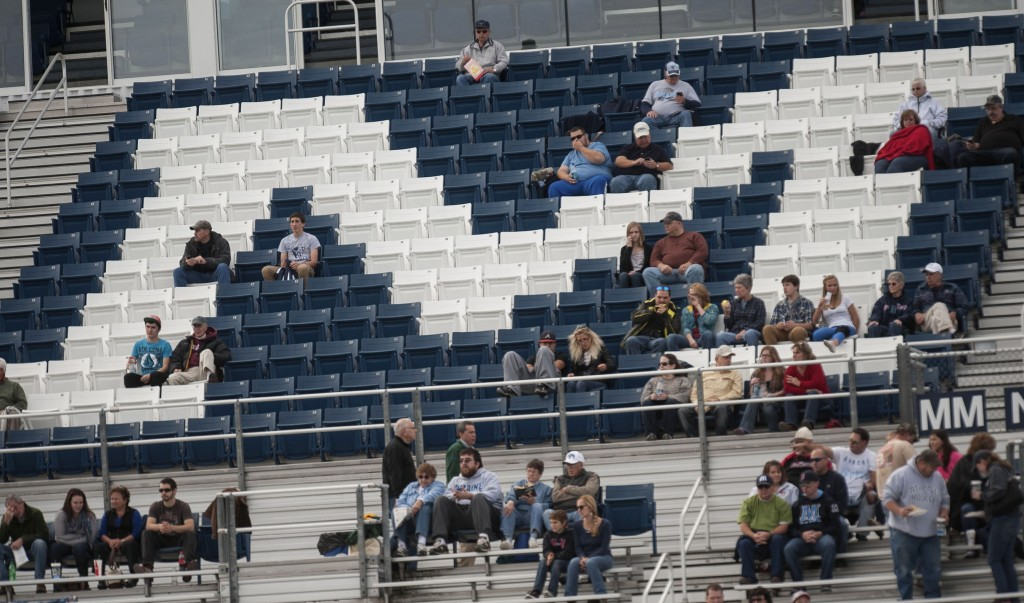 Maine fans take their seats before the Delaware game. Advance ticket sales for Saturday's game have already surpassed the average crowd for home games this season.