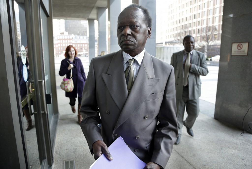 Onyango Obama, President Obama's Kenyan-born uncle, arrives at U.S. Immigration Court for a deportation hearing on Tuesday. The 69-year-old, Kenyan-born half-brother of Obama's estranged father was granted permission this week to stay in the U.S. after ignoring a deportation order two decades ago.