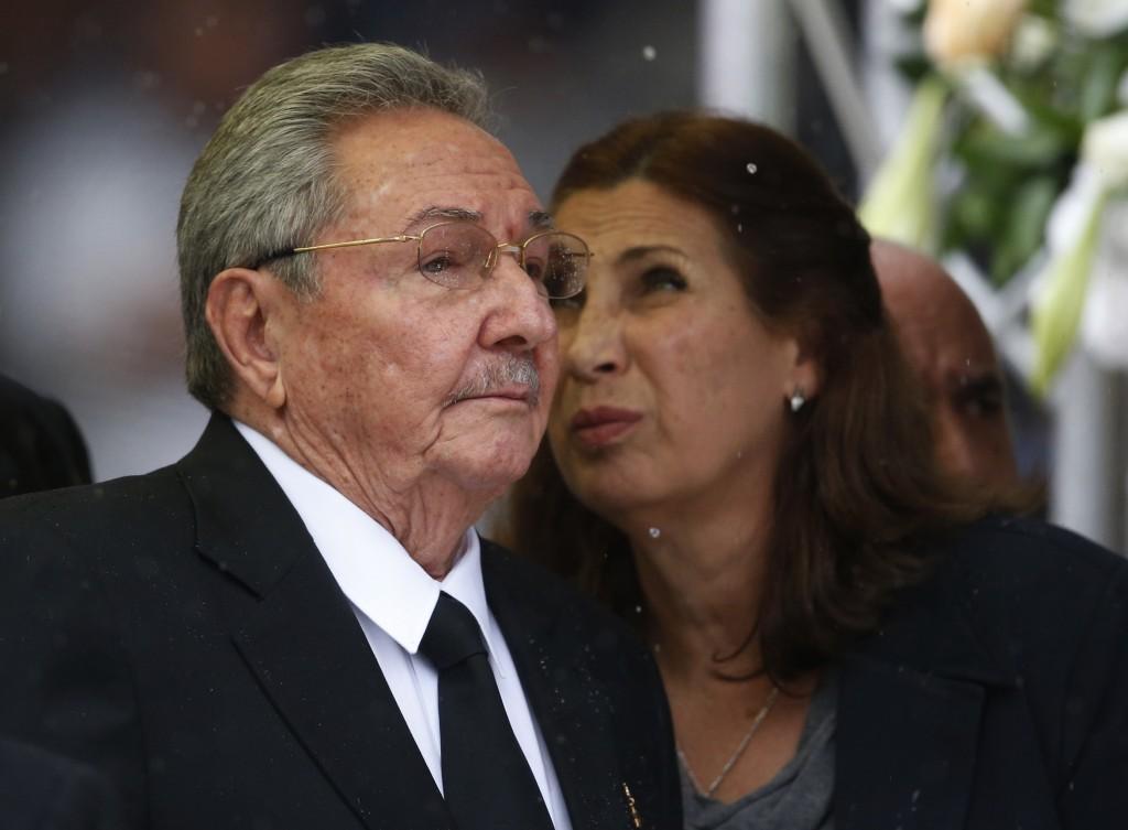 Cuba's President Raul Castro Ruz arrives for the memorial service for former South African president Nelson Mandela at the FNB Stadium in Soweto near Johannesburg, Tuesday.