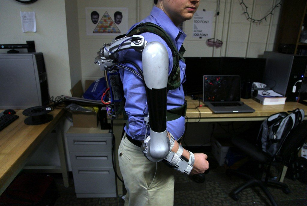 Nick McGill wears the Titan Arm. The final product cost less than $2,000 and weighs 18 pounds