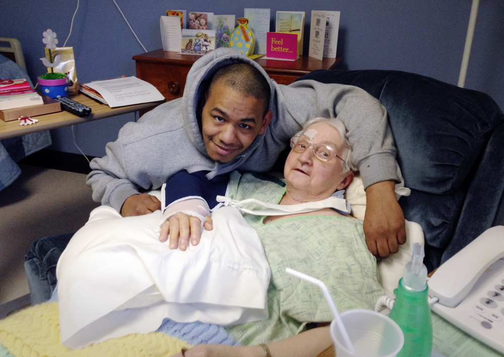 Sister Viola Lausier is visited this week by good Samaritan Timothy Pilz at St. Joseph's Convent in Biddeford. Pilz was driving by Nov. 18 when he came to Lausier's rescue after she was hit by a vehicle.