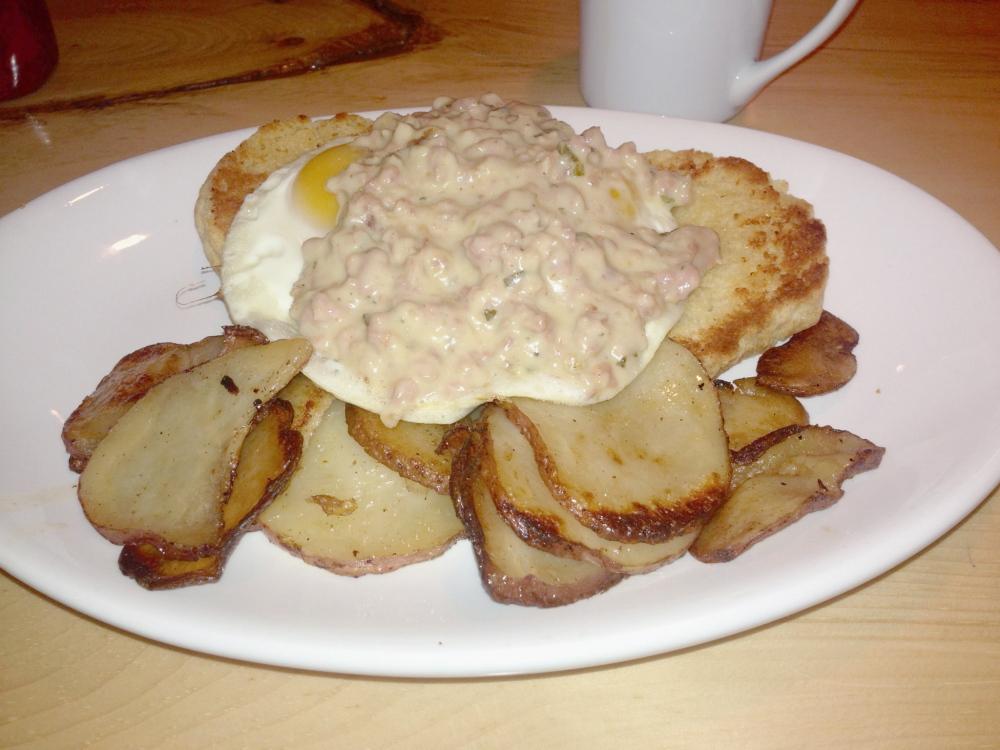 Sausage gravy is one of favorites on the Wayfarer menu.