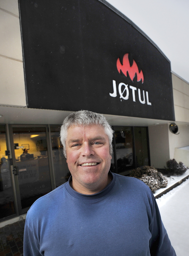 """Bret Watson is president of Jotul North America, in the Gorham Industrial Park. """"The real task,"""" he said, """"is to give people in rural Maine incentives to replace their stoves."""" The company's plant employs 75 people to assemble and fabricate stoves with parts shipped from Norway."""