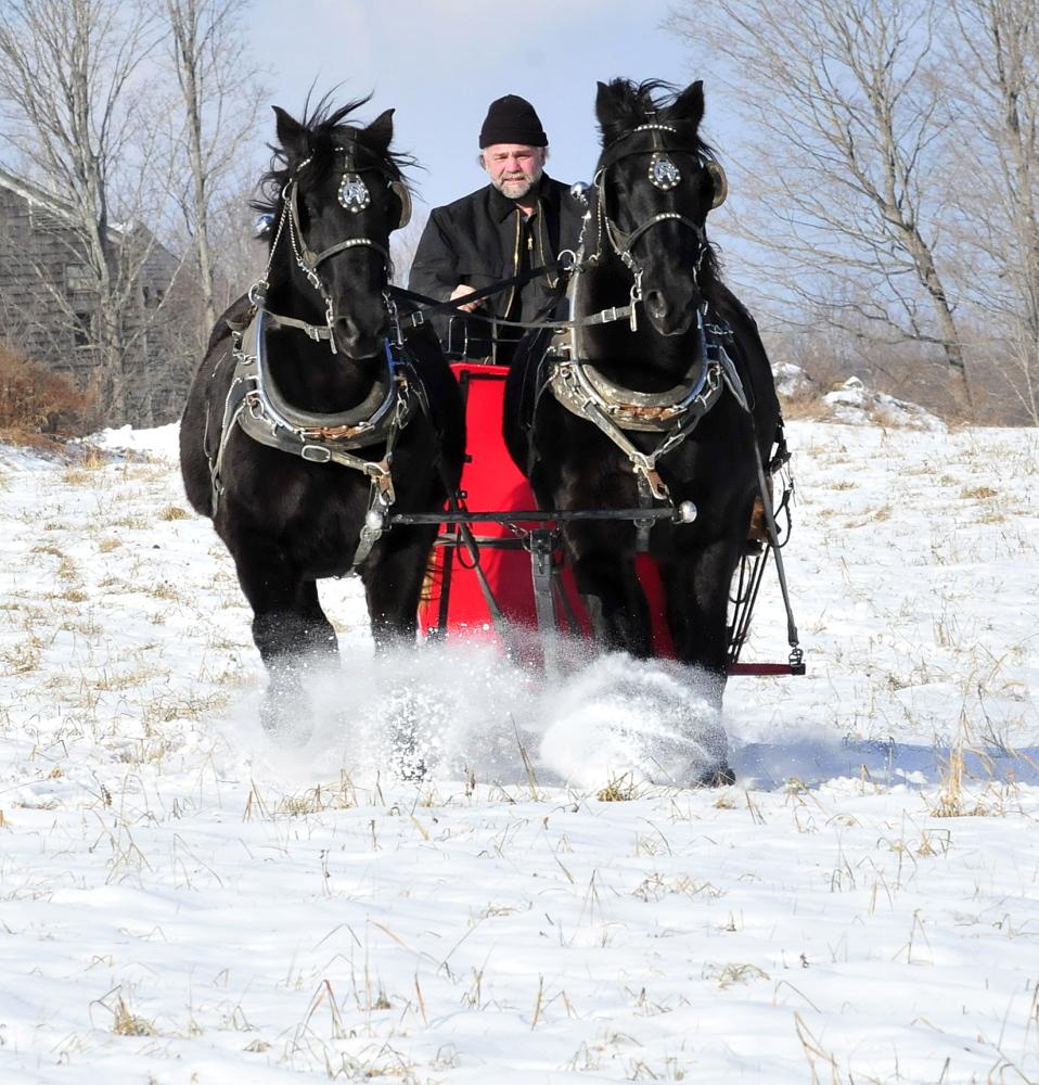 Steve Lemieux and his horses Hector and Tinoir go for a sleigh ride across a field near his home in Fairfield.