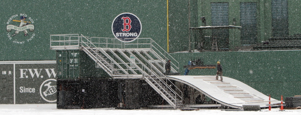 """The """"Monster Sled,"""" a 20-foot-high sledding and tubing structure with five ramps, will be featured at the 17-day Citi Frozen Fenway ice event, which opens Dec. 28."""