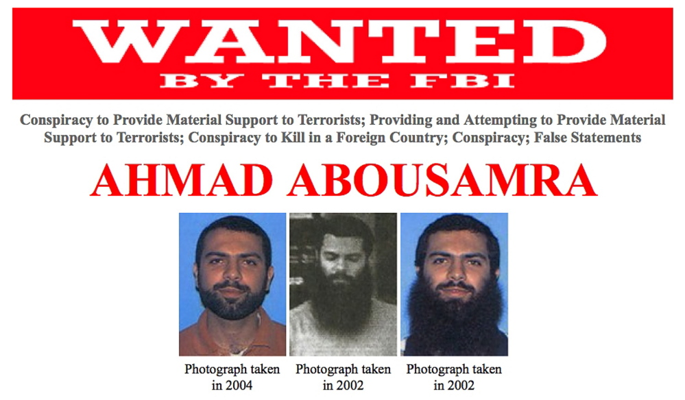 A wanted poster shows Ahmad Abousamra. The FBI is seeking the public's help in locating Abousamra, a U.S. citizen from Mansfield, Mass., who was indicted in 2009 after taking multiple trips to Pakistan and Yemen, where he allegedly attempted to obtain military training for the purpose of killing American soldiers overseas, according to officials.